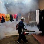 Un empleado del Ministerio de Salud Publica fumiga para erradicar el mosquito transmisor del zika, dengue y chikungunya, en un barrio de la ciudad de Catacamas al este de Honduras.