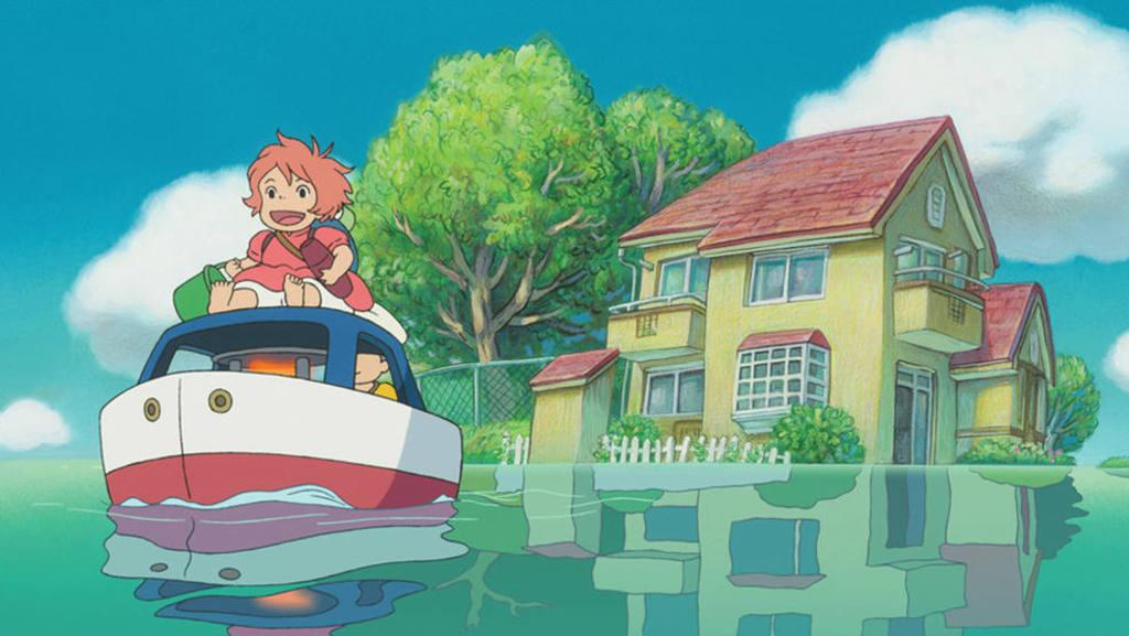 """Escena de la la película """"Ponyo en el acantilado""""."""