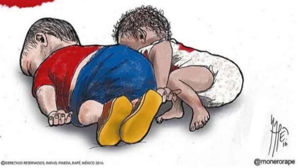 La foto del niño asesinado encendió las redes sociales y una campaña de denuncia terminó en la virilización de una ilustración que retrata al pequeño junto al niño sirio Aylan Kurdi, quien estuvo entre los refugiados fallecidos en 2015.