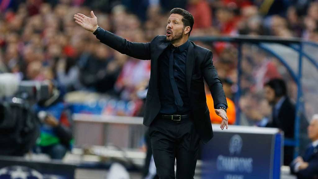 Atletico's coach Diego Simeone reacts during the Champions League 1st