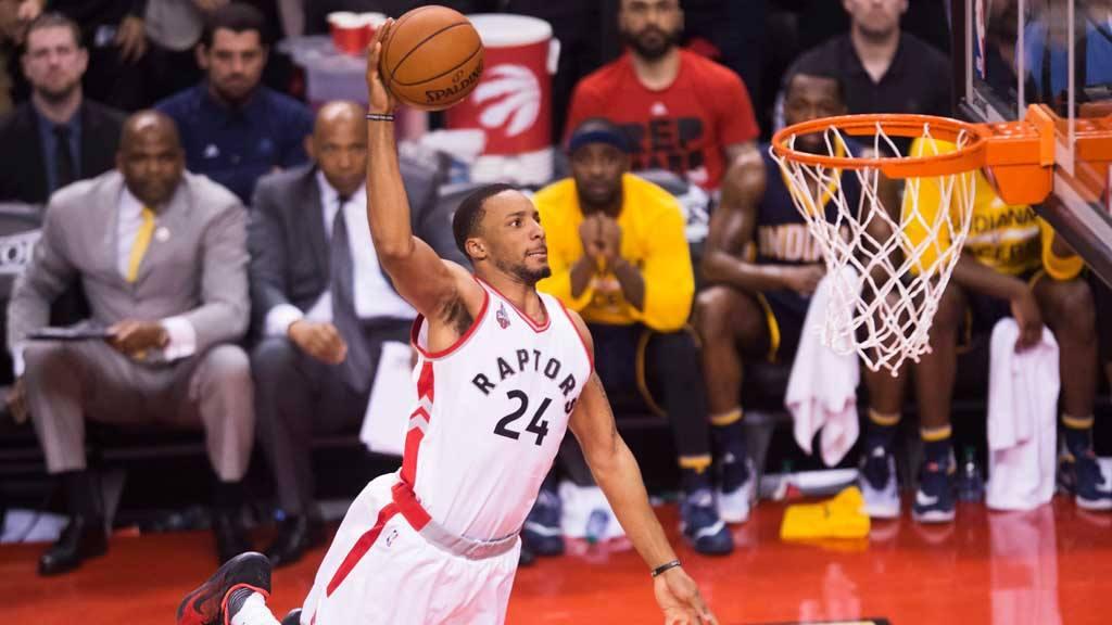 Toronto Raptors guard Norman Powell (24) slam dunks the ball against