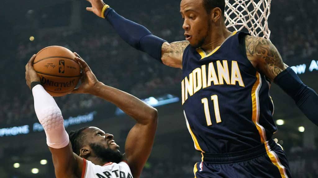 Indiana Pacers' Monta Ellis (11) defends as Toronto Raptors' DeMarre