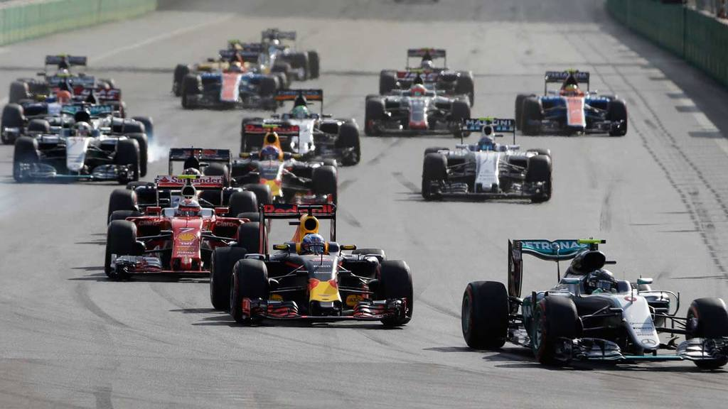 Mercedes driver Nico Rosberg of Germany leads the field after the sta