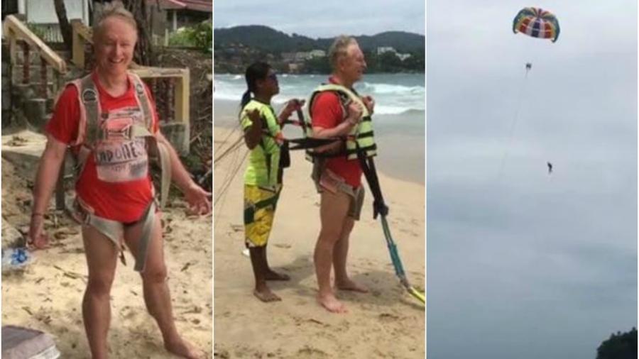 Turista se cayó de un paracaídas y murió: la esposa grabó todo