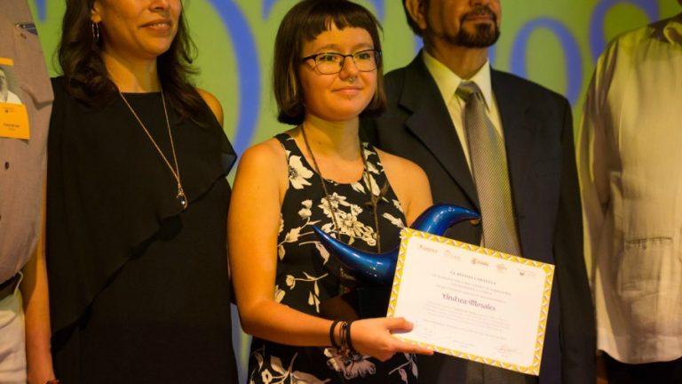 """Andrea Morales, de Guatemala, ganó el Premio Centroamericano Carátula de Cuento breve con el cuento """"El pájaro de fuego"""". foto/cortesía."""