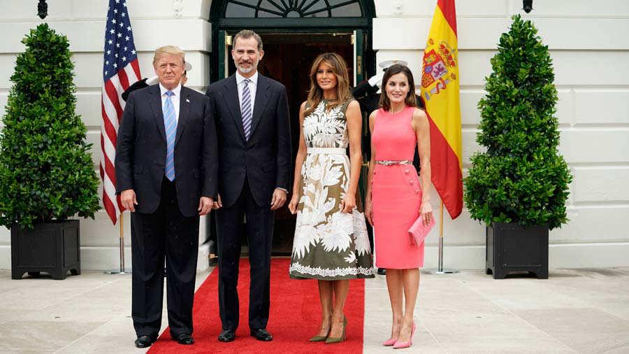 Spanish King Felipe VI and Queen Letizia meet President Donald Trump at the White House