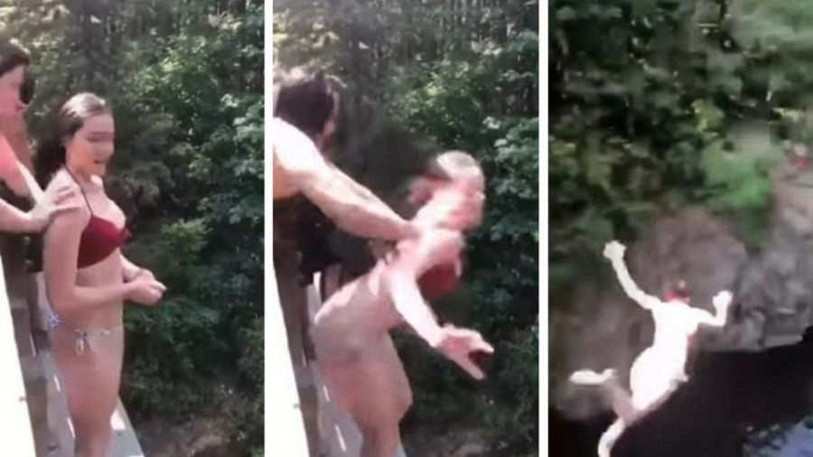 Adolescente es empujada hacia un precipicio por una 'amiga — Impresionante video