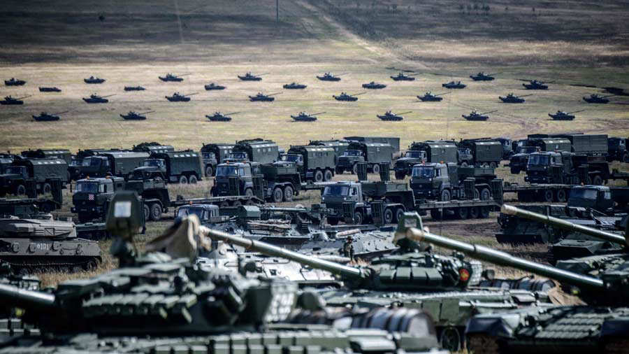 Military vehicles are seen during the Vostok-2018 (East-2018) militar