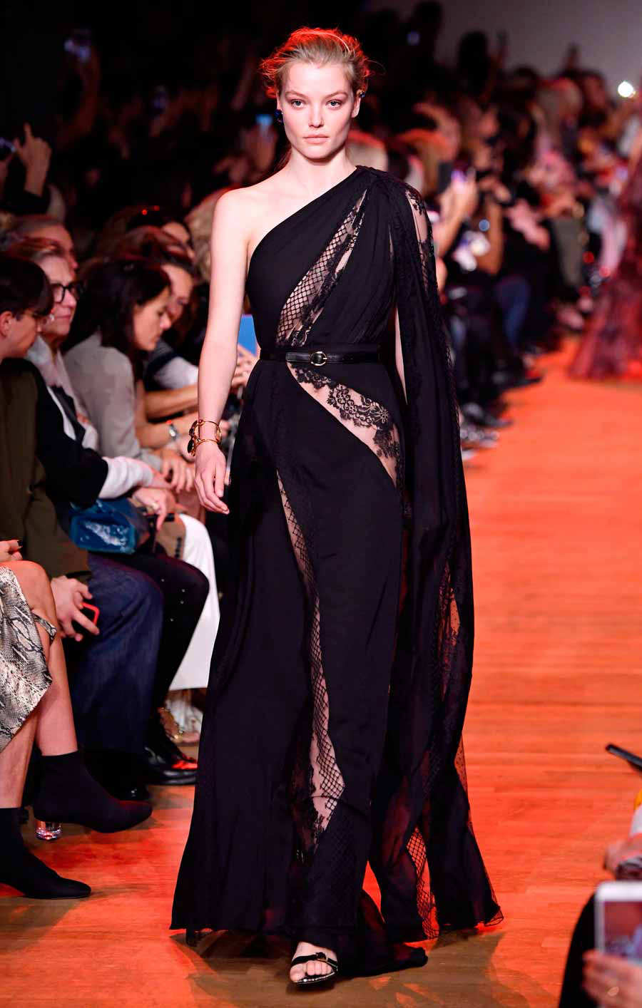 A model presents a creation by Elie Saab during the Spring-Summer 201
