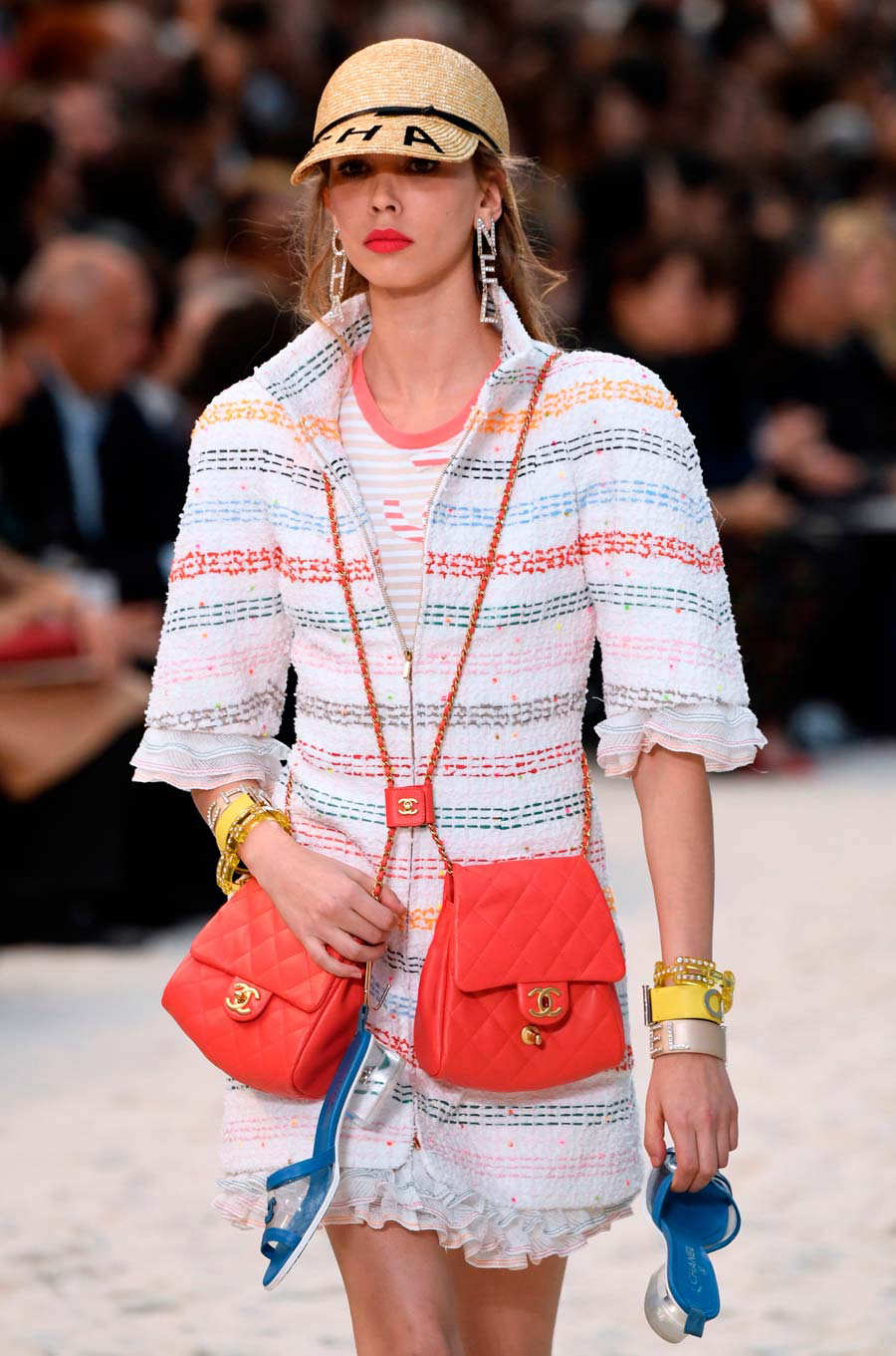 A model presents a creation by Chanel during the Spring-Summer 2019 R