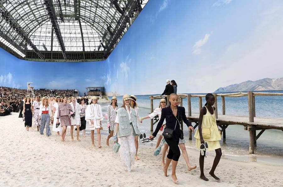 TOPSHOT - German fashion designer Karl Lagerfeld in the background