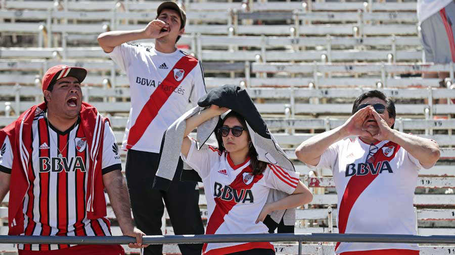 Supporters of River Plate are pictured at the Monumental stadium in B