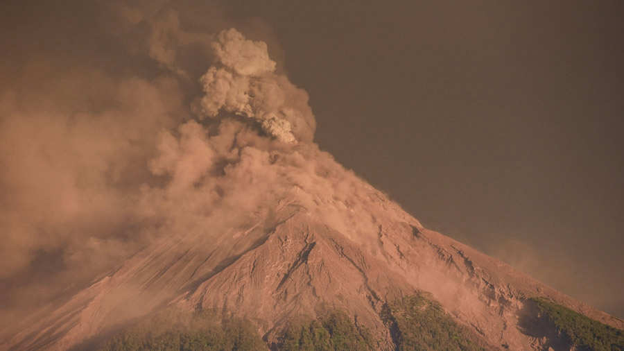 A view of the Fuego Volcano erupting