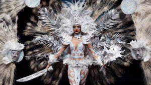 Marisela de Montecristo llevó la fiesta de las flores de Panchimalco a Miss Universo en traje típico