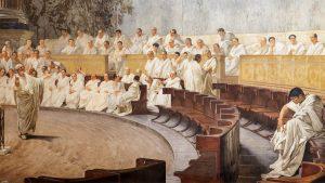 Cicerón ante el Senado romano