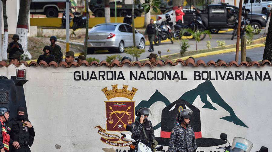 Partial view of the Cotiza Bolivarian National Guard headquarter in C
