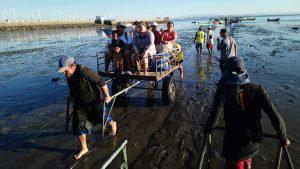 Los carretoneros que transportan personas y mercadería en las playas de La Unión
