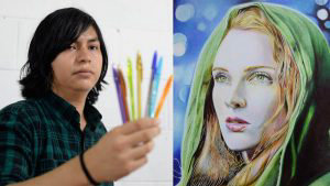 Joven salvadoreño crea impresionantes dibujos usando lapiceros