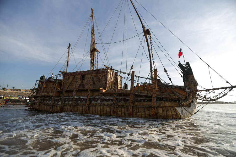 The Viracocha III reed raft is seen at Chinchorro Beach in the northe