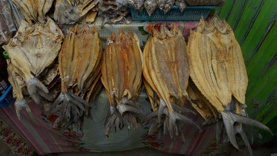 vendedores de pescado en  el  Puerto de  la  Libertad.