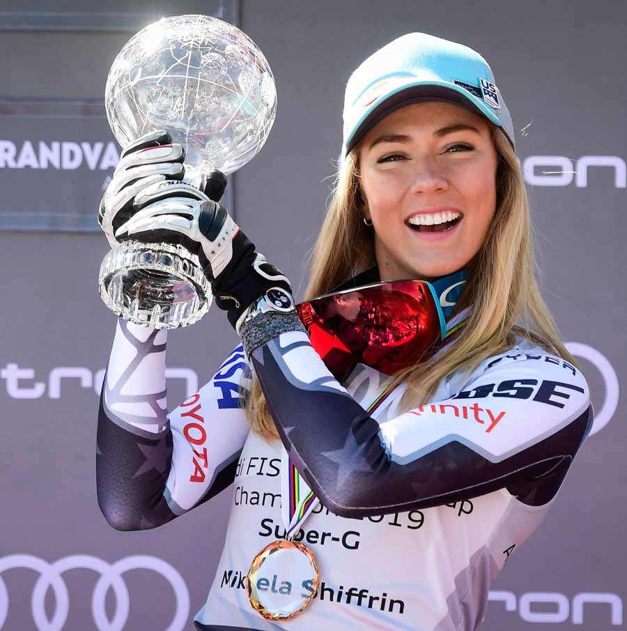 Overall FIS Alpine ski Super G 's winner US Mikaela Shiffrin celebrat