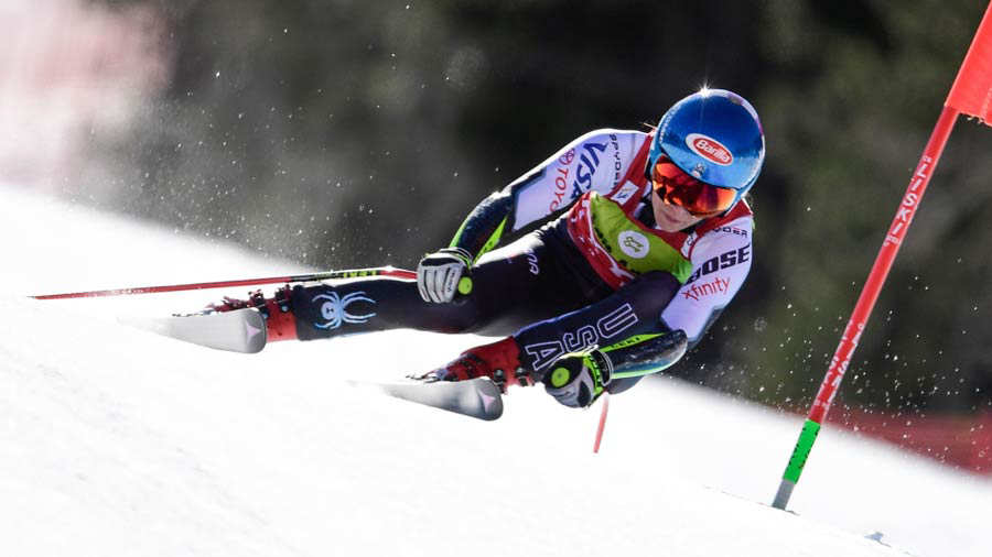 US Mikaela Shiffrin competes in the Women's Super G race during the F
