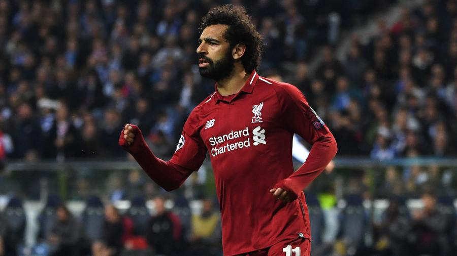El Mediocampista Egipcio Del Liverpool Mohamed Salah Celebra Despues De Marcar El Segundo Gol De Su Equipo Durante El Partido De Futbol De La Segunda