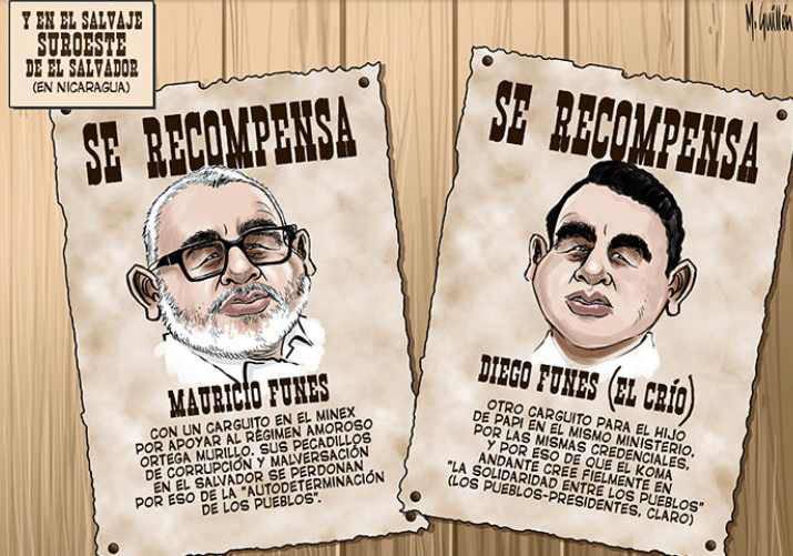 Caricatura de Funes en Nicaragua