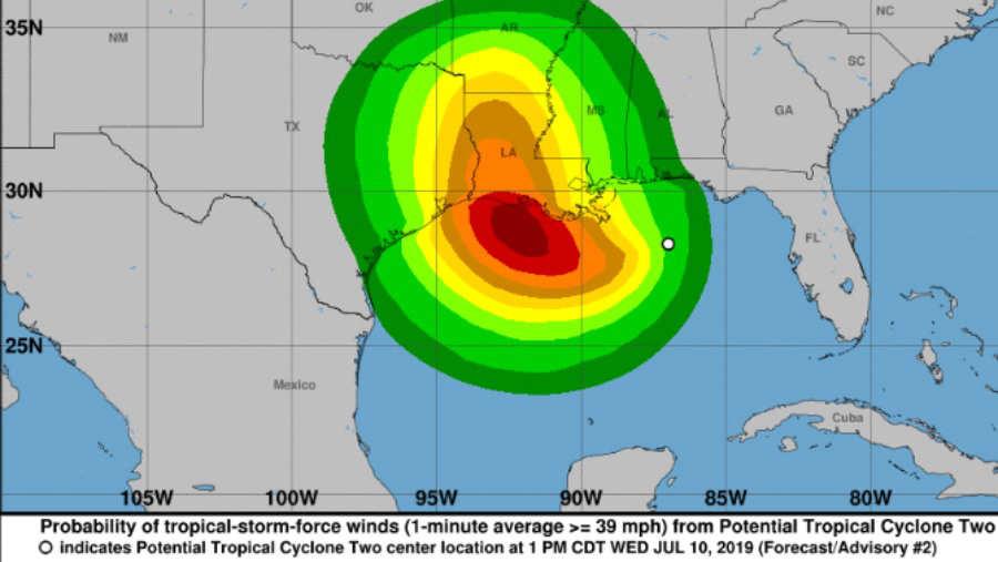 'Barry' se acerca a Luisiana, a punto de convertirse en huracán