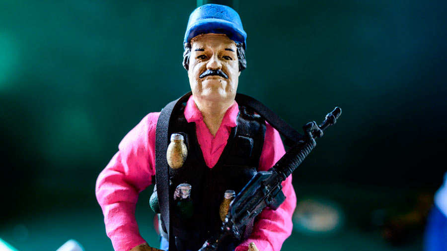 A statue of Mexican drug lord Joaquin