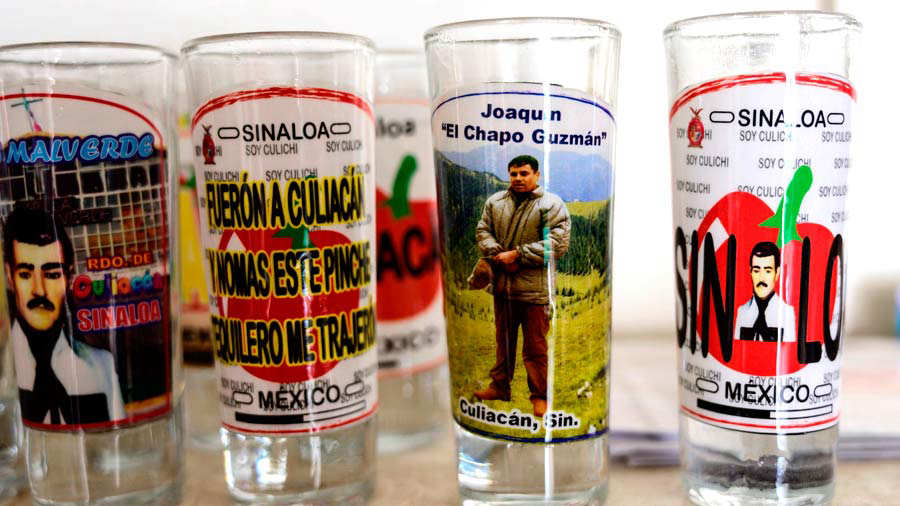 A shot glass bearing a picture of Mexican drug lord Joaquin