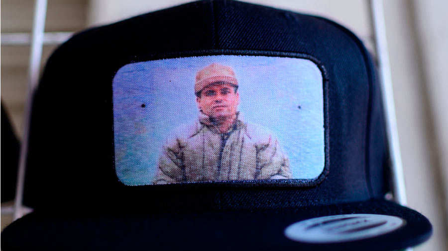 A cap bearing the image of Mexican drug lord Joaquin