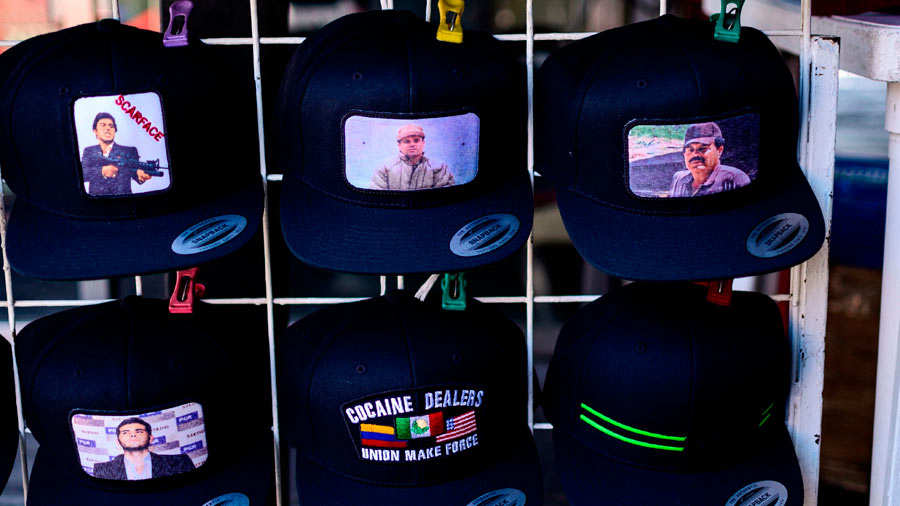 Caps bearing the image of Mexican drug lord Joaquin