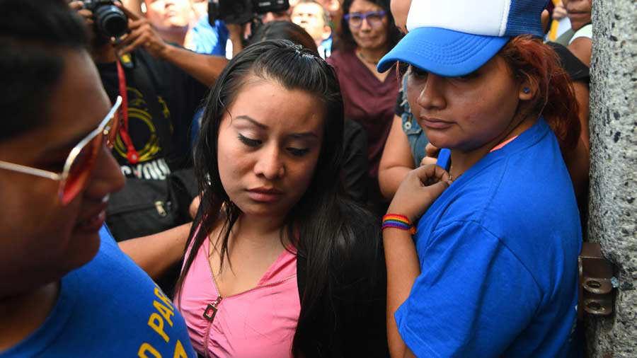 Salvadorean rape victim Evelyn Hernandez arrives at Ciudad Delgado's