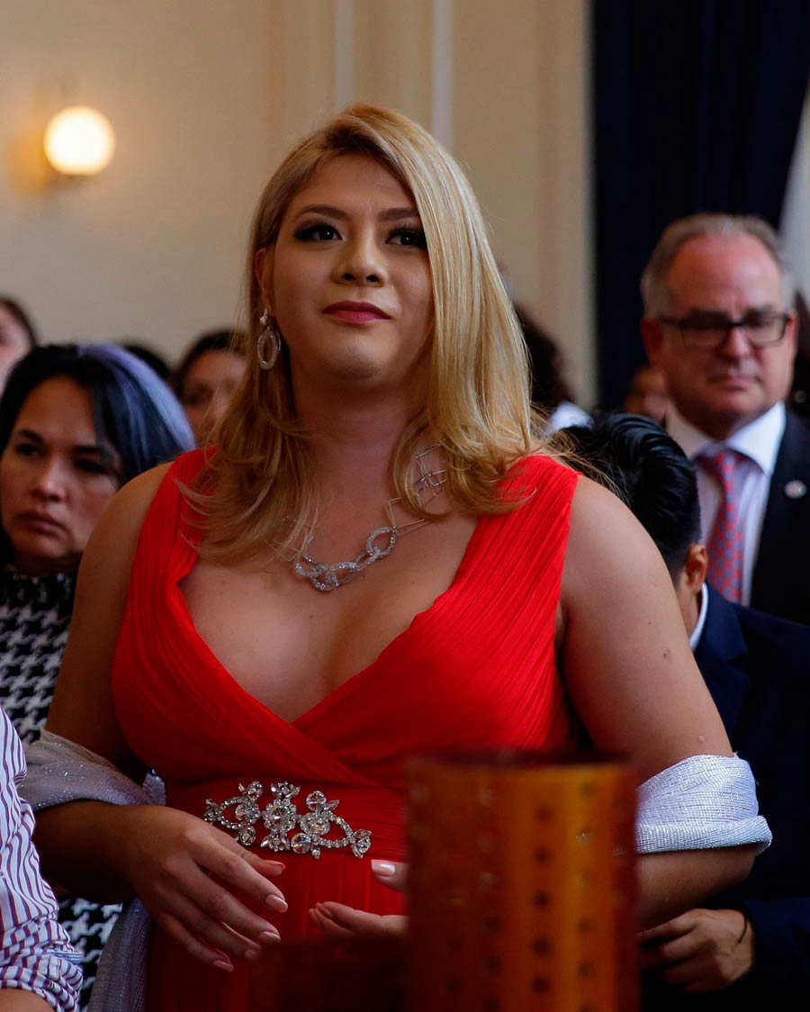 Salvadoran transgender Bianka Rodriguez (C) is seen during the United