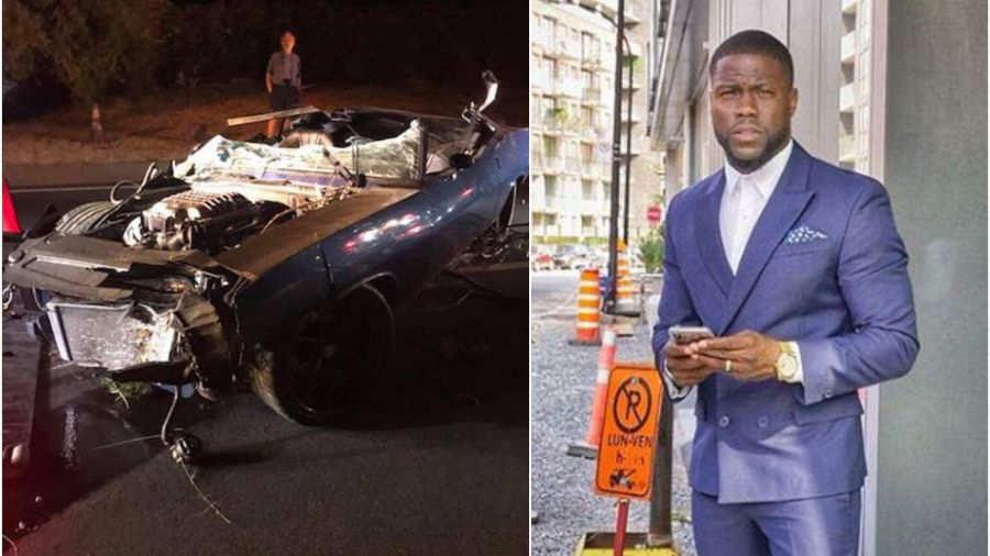 Kevin Hart accidente, el comediante resultó herido y su automóvil destruido