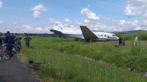 Imágenes del avión accidentado en el aeropuerto de Ilopango