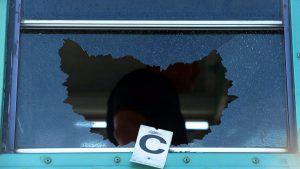 Imágenes del bus ametrallado por pandilleros en San Pedro Masahuat