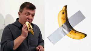 ¡La nueva obra de arte! Un hombre se comió la banana valorada en 120 mil dólares del Art Basel