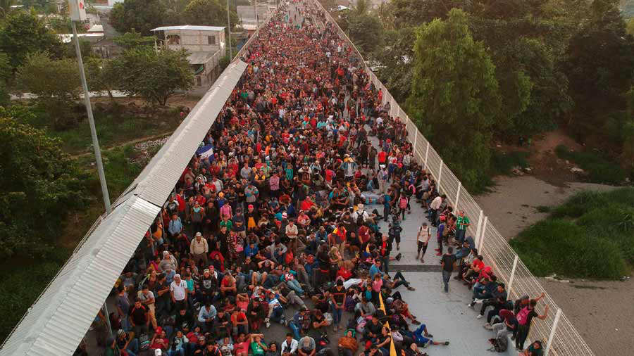 Central American migrants - mostly Hondurans