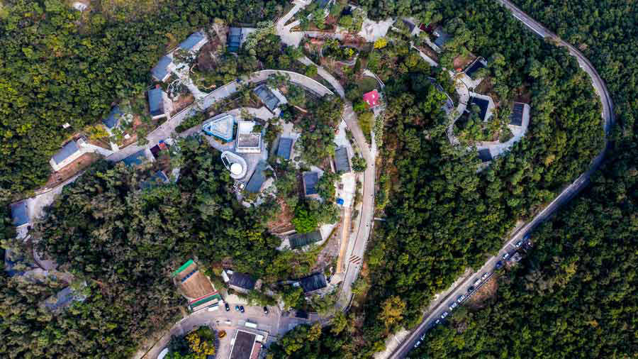 TOPSHOT - An aerial view shows the Lady MacLehose Holiday Village