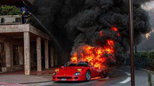 Un Ferrari valorado en más de un millón de dólares fue consumido por las llamas en Montecarlo