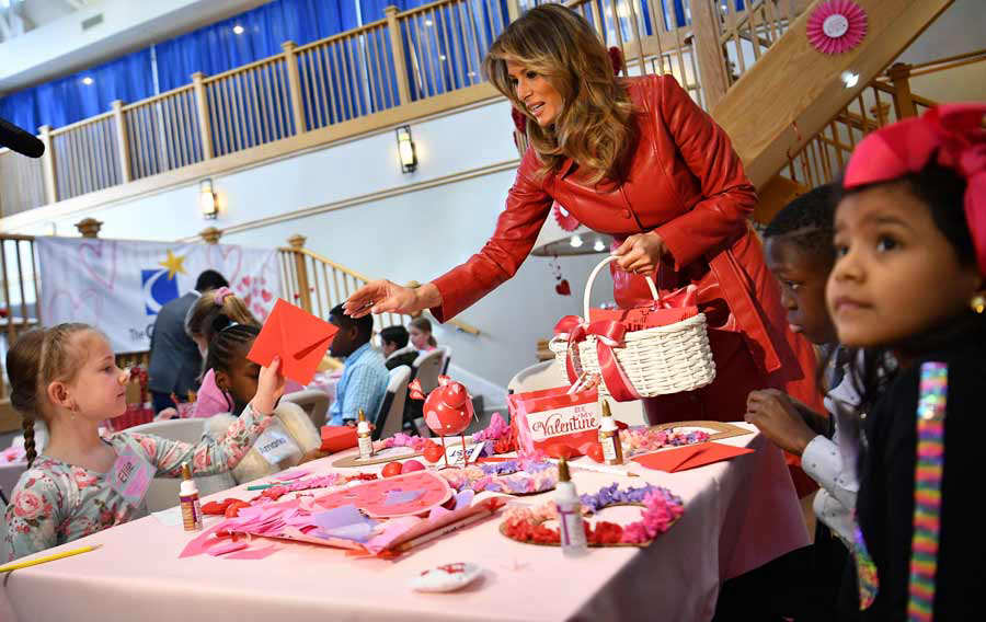 US First Lady Melania Trump exchanges valentines for Valentine's Day