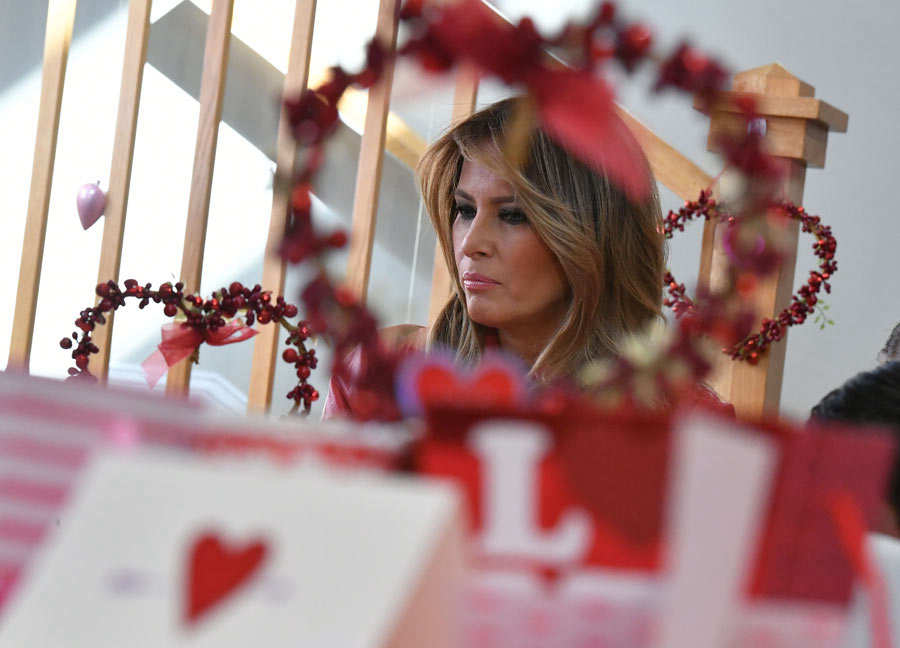 US First Lady Melania Trump makes a Valentine's Day visit to kids at