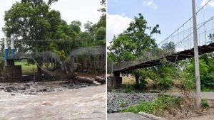 Puentes destruidos en el país ante la fuerza de Amanda
