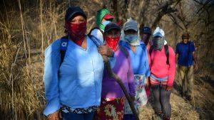 Mujeres agricultoras del cerro de Nejapa apagan incendios de maleza con rociadores